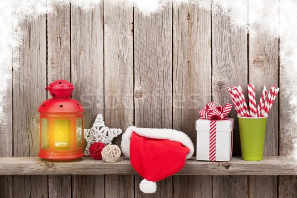 Natal vela lanterna dom decoração Foto stock © karandaev
