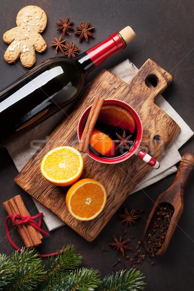 Stockfoto: Christmas · wijn · ingrediënten · top · boom