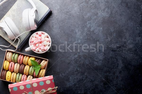 Coloré boîte guimauve coffret cadeau tasse de café pierre Photo stock © karandaev