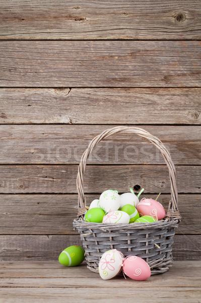 пасхальных яиц корзины стены пространстве Пасху Сток-фото © karandaev