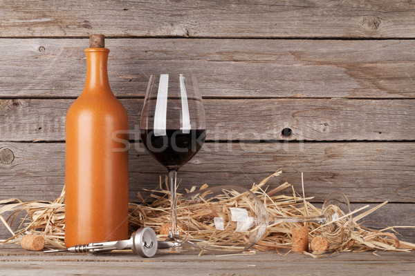 Red wine bottle and wine glasses Stock photo © karandaev