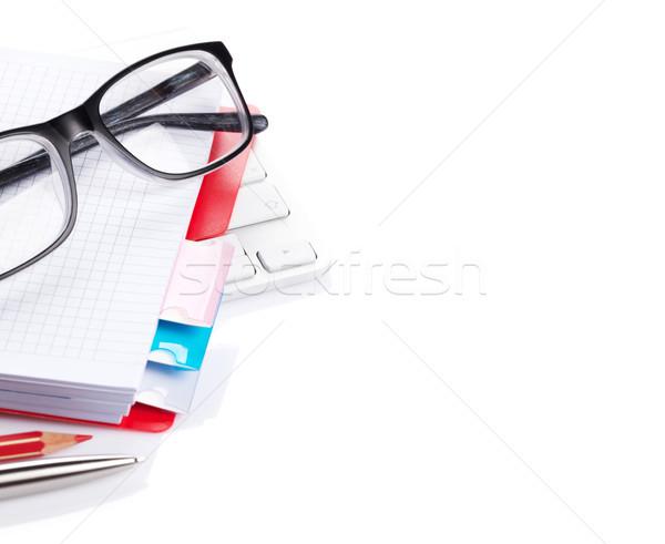 Stock fotó: Számítógép · irodaszerek · izolált · fehér · copy · space · üzlet