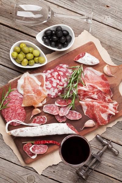 Zdjęcia stock: Salami · szynka · kiełbasa · prosciutto · wina