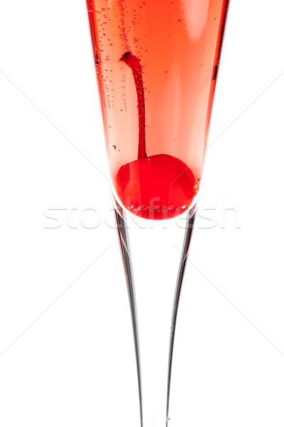 Red Champagne alcohol cocktail with maraschino Stock photo © karandaev