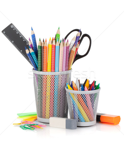 Various colour pencils and office tools Stock photo © karandaev