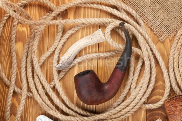 Tabacco pipe corda legno sfondo retro Foto d'archivio © karandaev