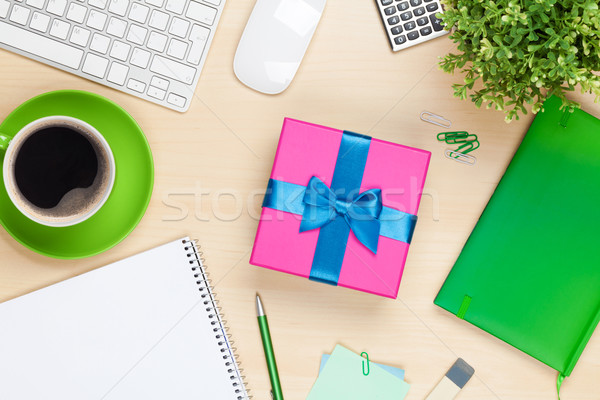 Gift box on office table Stock photo © karandaev