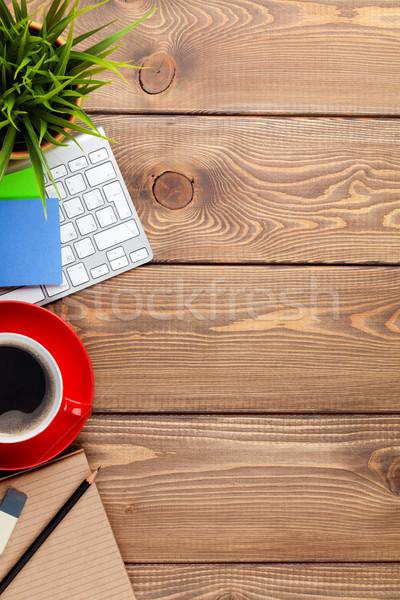 Сток-фото: таблице · компьютер · чашку · кофе · цветок