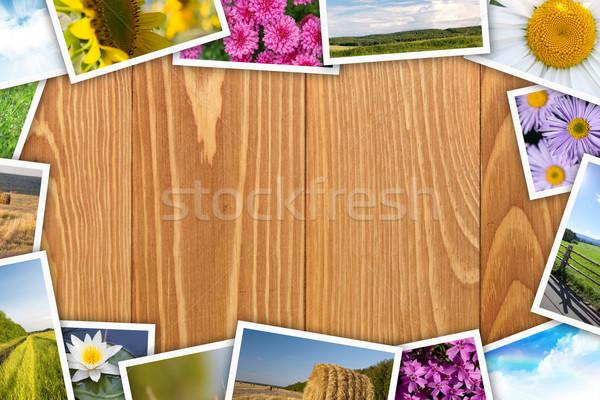 Afgedrukt foto's collage houten tafel exemplaar ruimte Stockfoto © karandaev