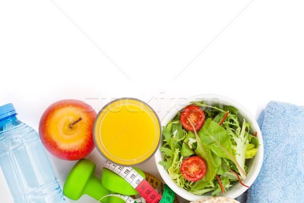 Fita métrica alimentação saudável toalhas fitness saúde isolado Foto stock © karandaev