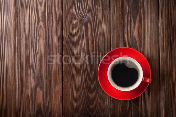 Kaffeetasse Holztisch top Ansicht Kopie Raum Essen Stock foto © karandaev