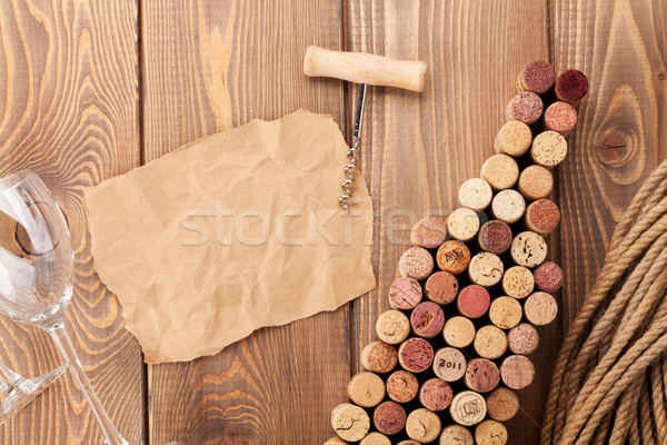 Wine bottle shaped corks, wine glass and corkscrew Stock photo © karandaev