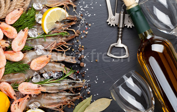 Fresh prawns with spices and white wine Stock photo © karandaev