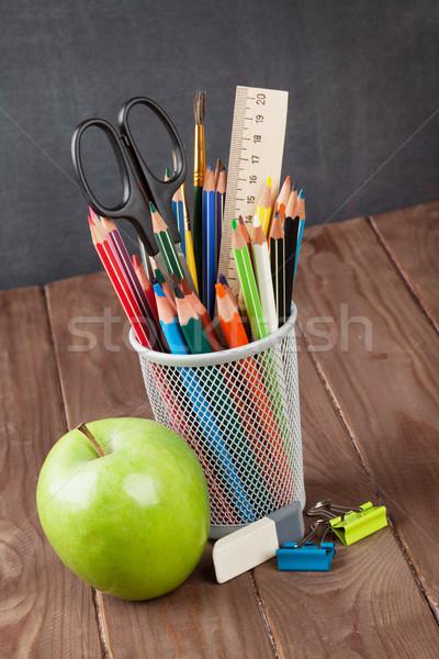 Iskola irodaszerek osztályterem asztal iskolatábla fa Stock fotó © karandaev