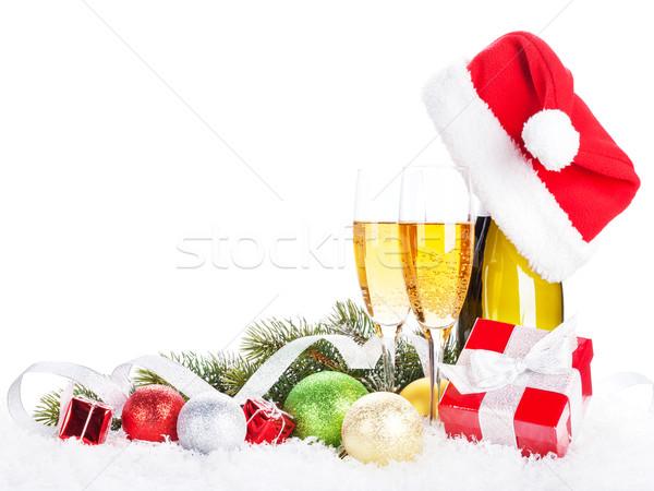 Champán Navidad decoración sombrero nieve Foto stock © karandaev