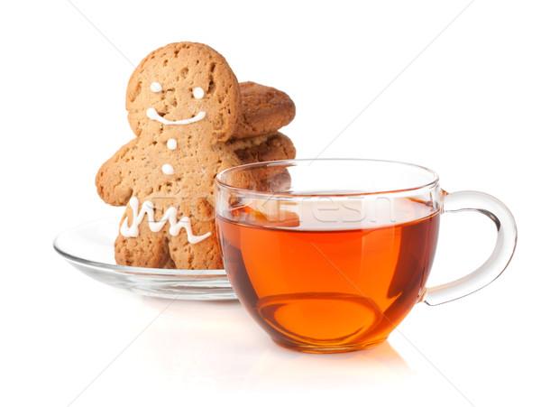 Cam fincan siyah çay ev yapımı kurabiye Stok fotoğraf © karandaev