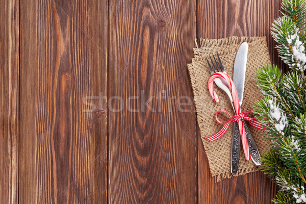 Stockfoto: Christmas · houten · sneeuw · boom · voedsel