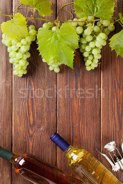 ブドウ 白ワイン ボトル コークスクリュー 木製のテーブル ストックフォト © karandaev