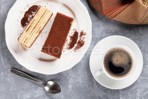 Tiramisu postre café piedra mesa superior Foto stock © karandaev
