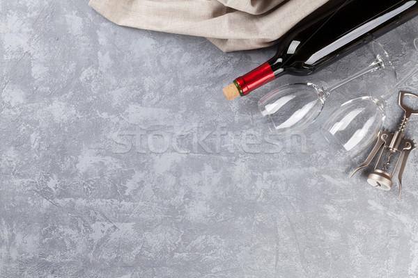 ワイングラス コークスクリュー 石 先頭 表示 コピースペース ストックフォト © karandaev