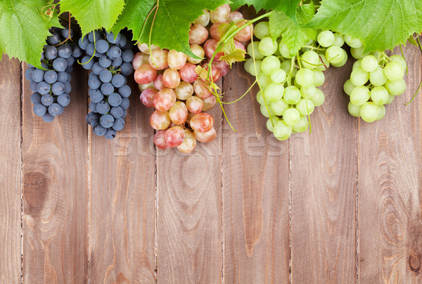Bunch of grapes and vine on wooden table Stock photo © karandaev