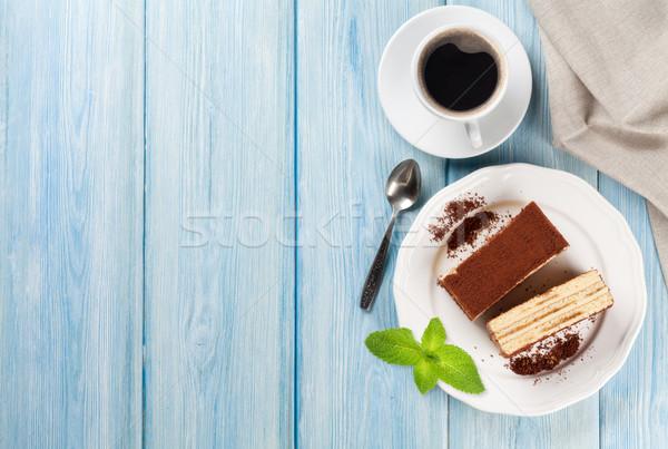 Tiramisu postre taza de café café mesa de madera superior Foto stock © karandaev