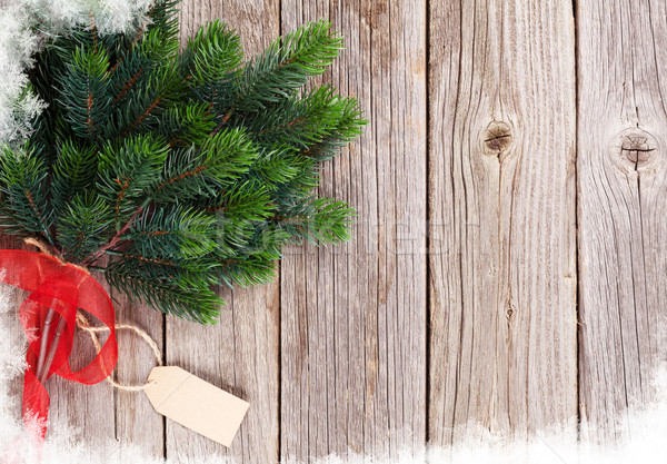 Karácsony fából készült fenyőfa kilátás copy space textúra Stock fotó © karandaev