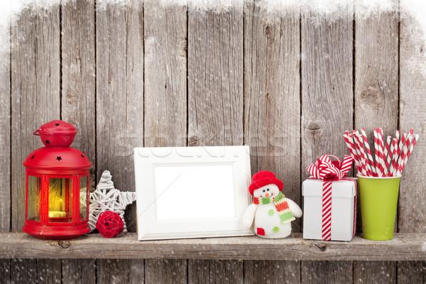 Karácsony gyertya lámpás fényképkeret dekoráció fából készült Stock fotó © karandaev