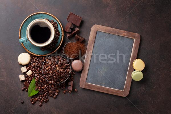 ストックフォト: コーヒーカップ · 豆 · 石 · 先頭 · 表示 · 黒板