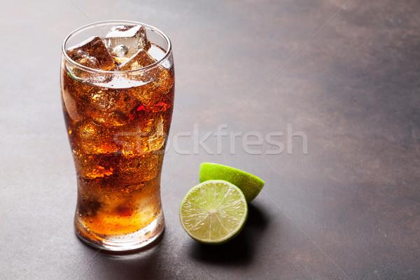 コーラ ガラス 氷 アイスキューブ コピースペース 石 ストックフォト © karandaev
