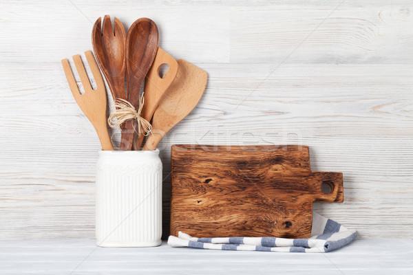 Stockfoto: Keuken · houten · muur · ruimte · voedsel
