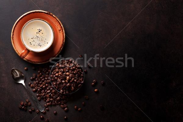 Tazza di caffè vecchio tavolo da cucina top view copia spazio Foto d'archivio © karandaev