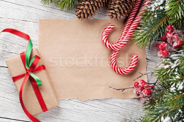 Christmas geschenkdoos snoep riet sneeuw Stockfoto © karandaev