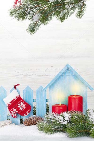 Karácsony dekoráció gyertyák fenyőfa ág fedett Stock fotó © karandaev