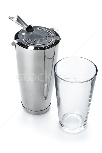 Stockfoto: Boston · cocktail · shaker · geïsoleerd · witte · voedsel