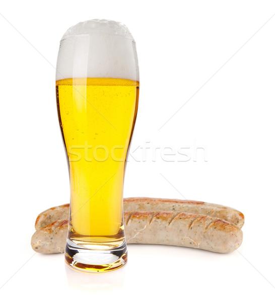 Alman birası bira cam iki ızgara sosis Stok fotoğraf © karandaev