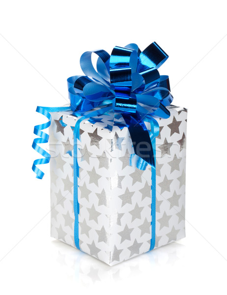 Stock photo: Silver gift box with blue ribbon