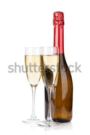 2 シャンパン 眼鏡 クリスマス 装飾 バラの花びら ストックフォト © karandaev
