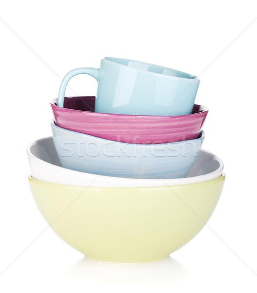 Stockfoto: Kleurrijk · kommen · beker · geïsoleerd · witte · koffie
