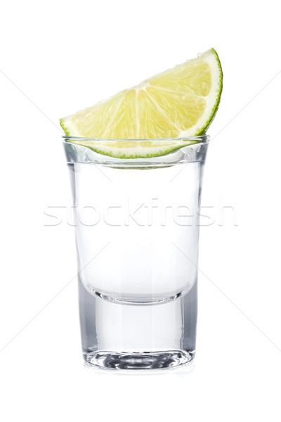 Atış votka kireç dilim yalıtılmış beyaz Stok fotoğraf © karandaev