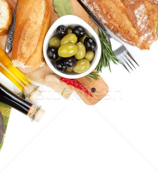 Italian food appetizer of olives, bread, olive oil and balsamic  Stock photo © karandaev