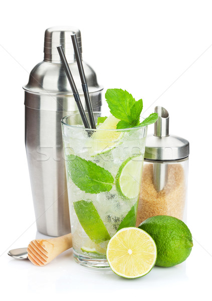Stockfoto: Vers · mojito · cocktail · bar · geïsoleerd