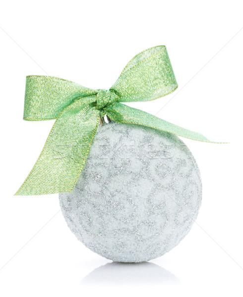 クリスマス 安物の宝石 緑 リボン 孤立した 白 ストックフォト © karandaev