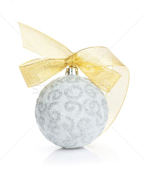 Natal bugiganga dourado fita isolado branco Foto stock © karandaev