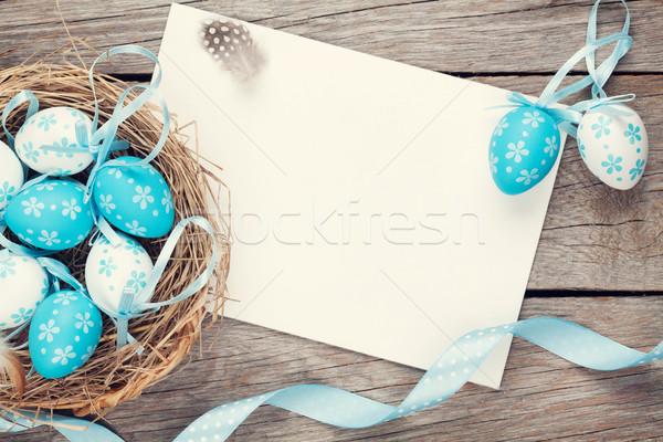 Húsvét üdvözlőlap kék fehér tojások fészek Stock fotó © karandaev