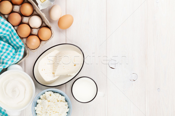Crème lait fromages oeufs yogourt beurre Photo stock © karandaev