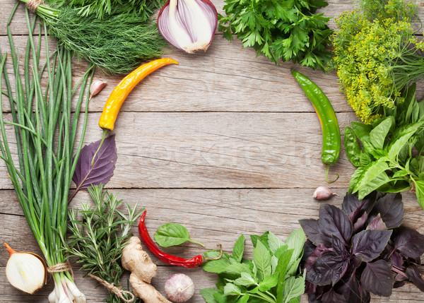 ストックフォト: 新鮮な · 庭園 · ハーブ · スパイス · 木製のテーブル · 先頭