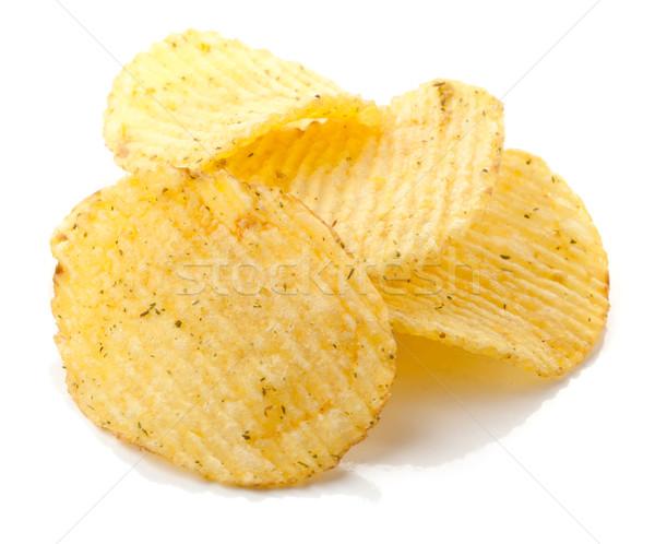 Batatas fritas tempero isolado branco comida gordura Foto stock © karandaev
