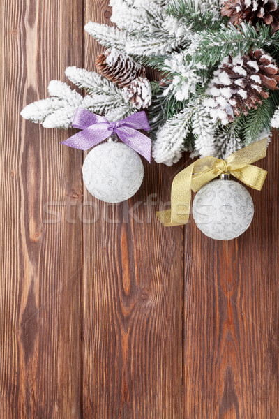 Christmas background with firtree and baubles Stock photo © karandaev