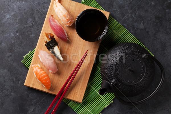 Ayarlamak sushi yeşil çay taş tablo üst Stok fotoğraf © karandaev